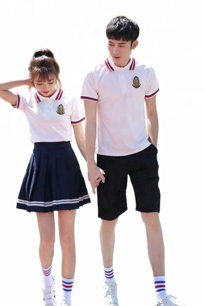 Đồng phục học sinh sinh viên – Đồng phục học sinh cấp III váy xếp li đen, áo thun cổ trụ 87