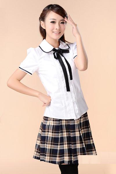 Đồng phục học sinh sinh viên – Đồng phục học sinh cấp II váy caro đen, áo sơ mi trắng ngắn tay phối nơ cổ 78