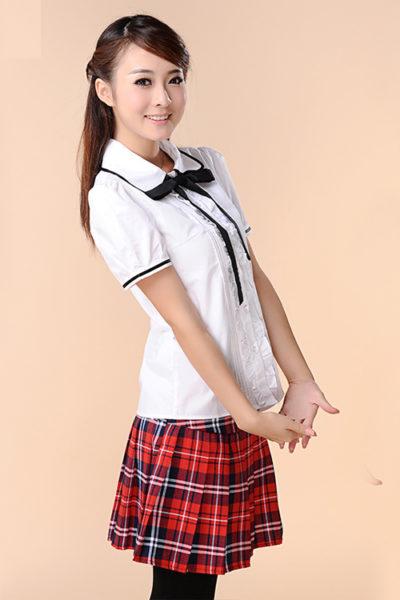 Đồng phục học sinh sinh viên – Đồng phục học sinh cấp II váy caro đỏ, áo sơ mi trắng ngắn tay phối nơ 77
