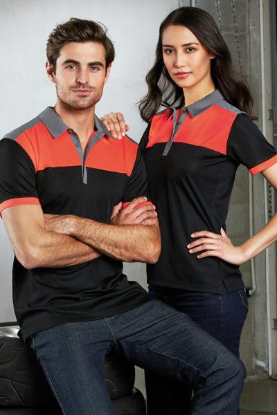 Đồng phục áo thun – Áo thun cổ trụ màu đen phối cam 126