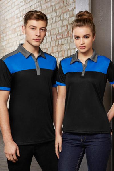 Đồng phục áo thun – Áo thun cổ trụ màu đen phối xanh 127