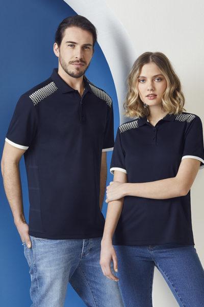 Đồng phục áo thun – Áo thun cổ trụ màu xanh dương 129