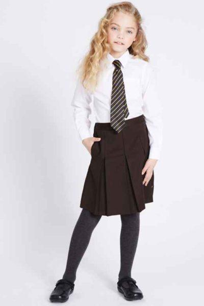 Đồng phục học sinh sinh viên – Đồng phục học sinh cấp II váy xếp li, áo sơ mi trắng dài tay phối cà vạt 79