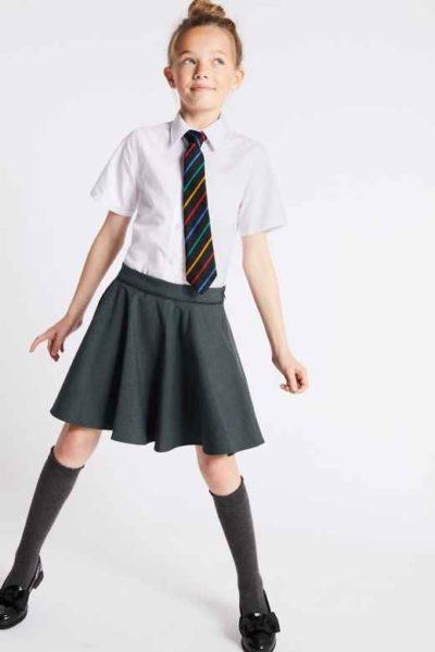 Đồng phục học sinh sinh viên – Đồng phục học sinh cấp II váy xòe, áo sơ mi trắng ngắn tay phối cà vạt 80