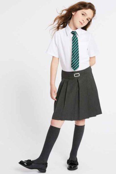 Đồng phục học sinh sinh viên – Đồng phục học sinh cấp II váy xếp li, áo sơ mi trắng ngắn tay phối cà vạt 81
