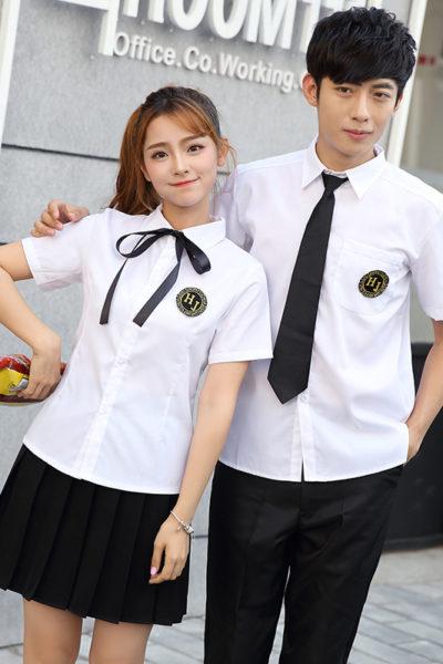 Đồng phục học sinh sinh viên – Đồng phục học sinh cấp III váy xếp li đen, áo sơ mi trắng ngắn tay 84
