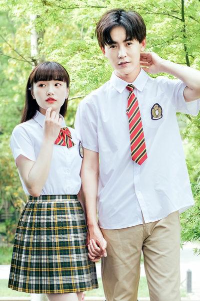 Đồng phục học sinh sinh viên – Đồng phục học sinh cấp III váy caro, áo sơ mi trắng ngắn tay 82