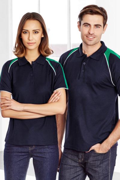 Đồng phục áo thun – Áo thun cổ trụ màu xanh dương phối xanh lá 130
