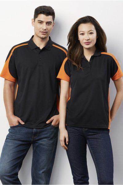 Đồng phục áo thun – Áo thun cổ trụ màu đen phối cam 123