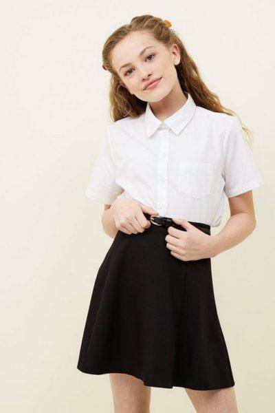 Đồng phục học sinh sinh viên – Đồng phục học sinh cấp II váy đen, áo sơ mi trắng ngắn tay 75