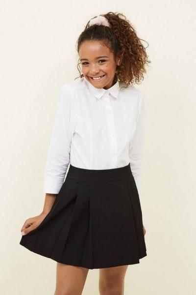 Đồng phục học sinh sinh viên – Đồng phục học sinh cấp II váy xèo đen, áo sơ mi trắng dài tay 76