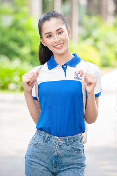 Đồng phục học sinh sinh viên – Đồng phục sinh viên áo thun cổ trụ màu xanh phối trắng 18