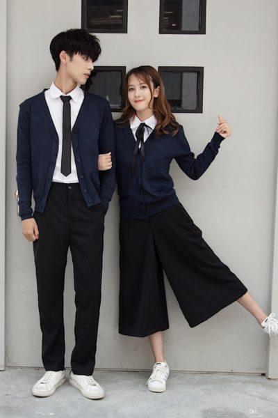 Đồng phục học sinh sinh viên – Đồng phục học sinh cấp III quần đen, áo sơ mi trắng 93