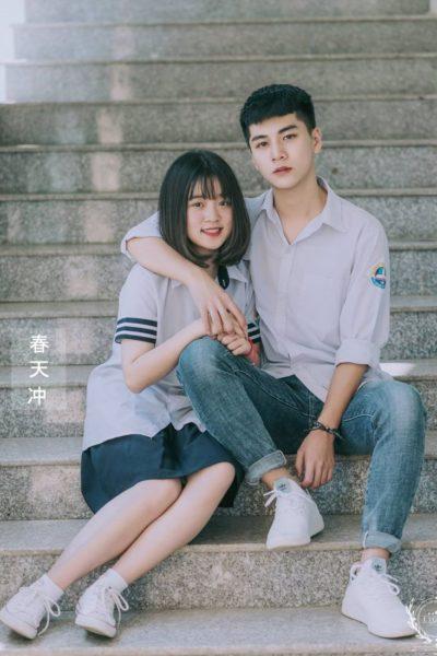 Đồng phục học sinh sinh viên – Đồng phục học sinh cấp III váy xanh, áo sơ mi ngắn tay 95